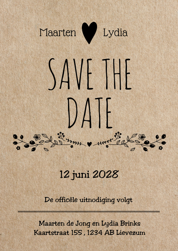 Trouwkaarten - Hippe save the date - kraft look
