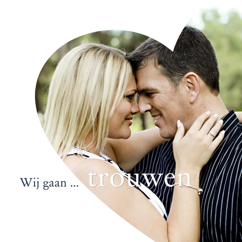 Trouwkaarten - huwelijk foto in hart