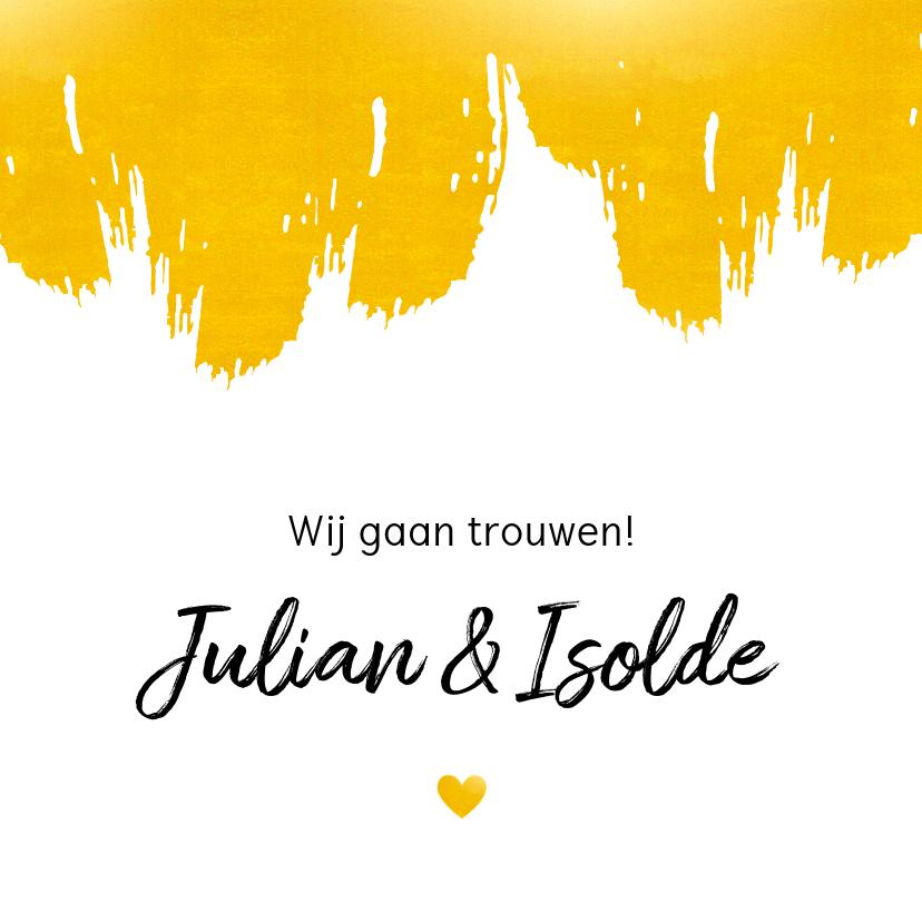 Trouwkaarten - Huwelijk - Verf strepen in goudlook