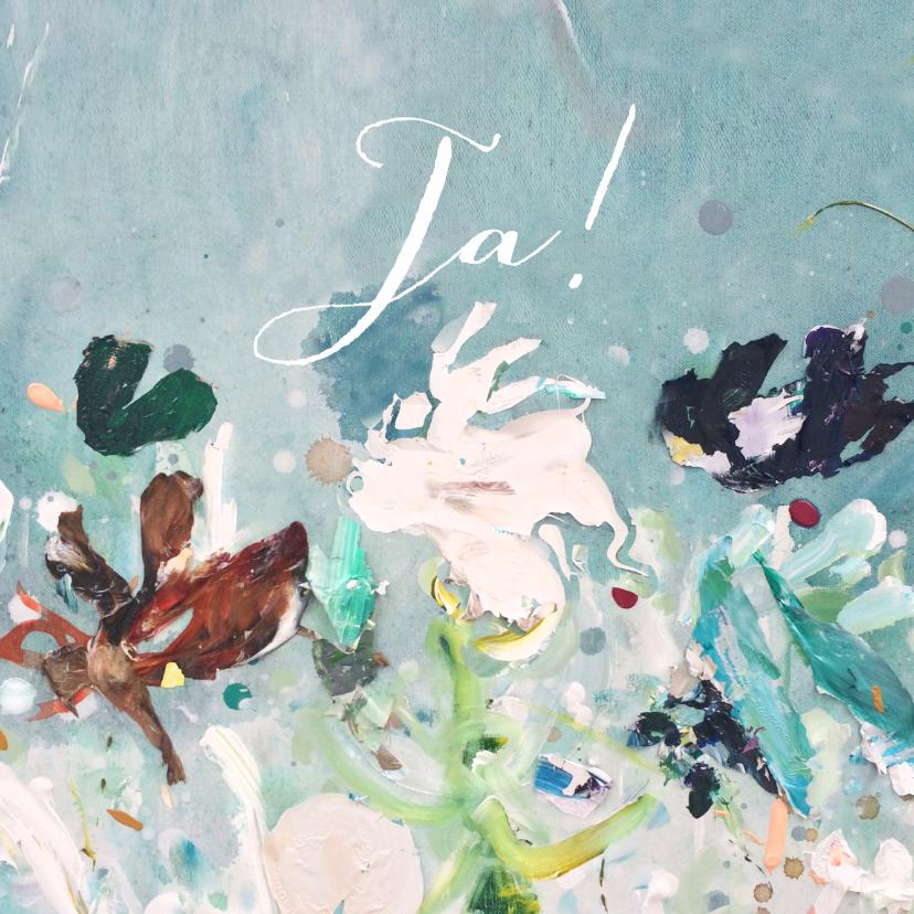 Trouwkaarten - Huwelijkskaart bloemen geschilderd