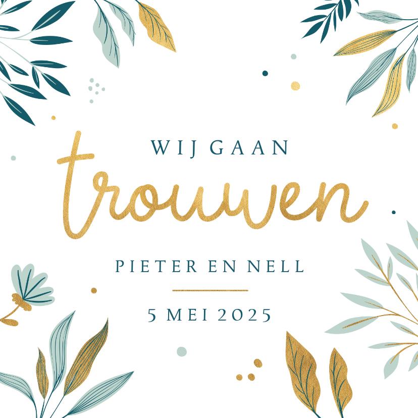 Trouwkaarten - Huwelijksuitnodiging met botanische elementen
