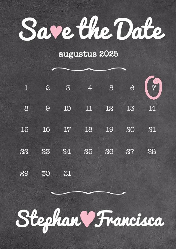 Trouwkaarten - Kalender krijt Save The Date