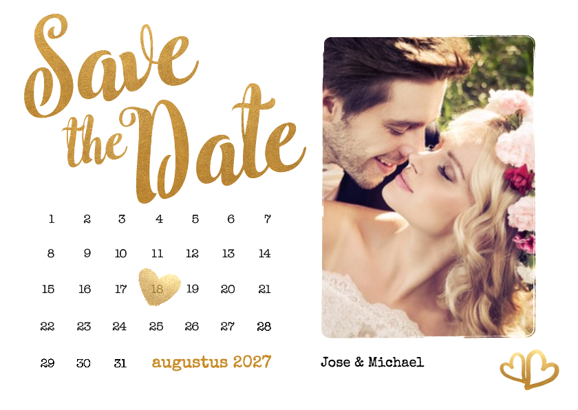 Trouwkaarten - Kalender Save the Date foto - BK