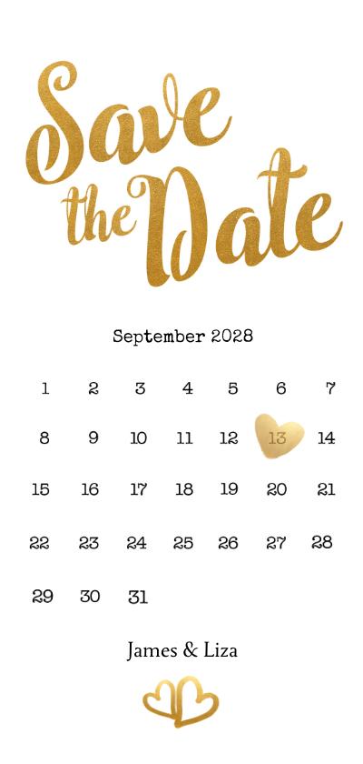 Trouwkaarten - Kalender Save the Date goud langwerpig - BK