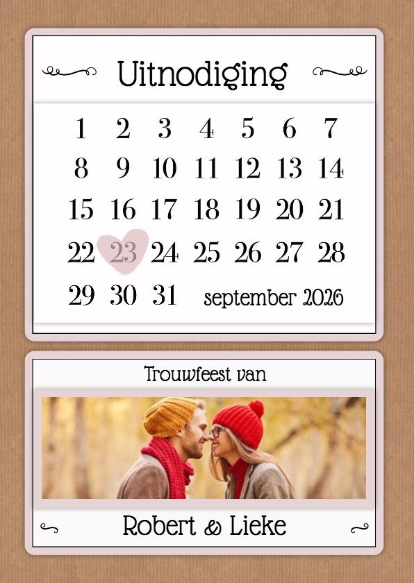 Trouwkaarten - Kalender uitnodiging - BK
