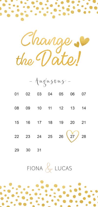 Trouwkaarten - Langwerpige Change the Date kaart met kalender en datum