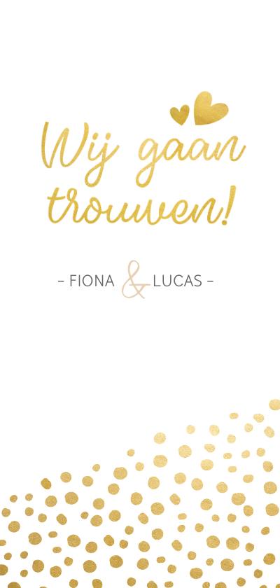 Trouwkaarten - Langwerpige trouwkaart met goudlook stippen