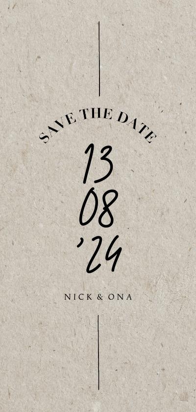 Trouwkaarten - Less is more save the date trouwkaart met datum typografie