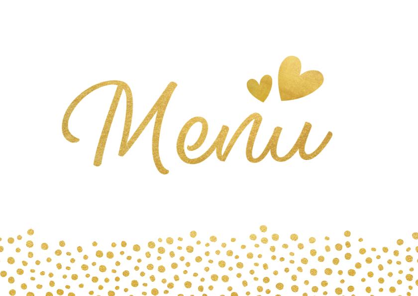 Trouwkaarten - Liggende menukaart voor een huwelijk met gouden stippen