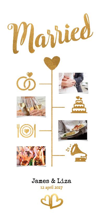 Trouwkaarten - Married goud langwerpig - BK