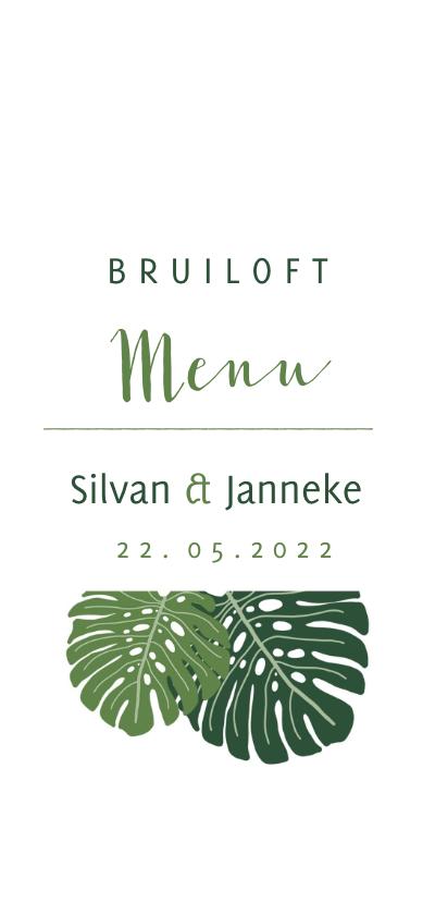 Trouwkaarten - Menu kaart botanisch bruiloft groen