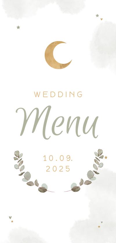 Trouwkaarten - Menukaart Arabische bruiloft windlicht eucalyptus
