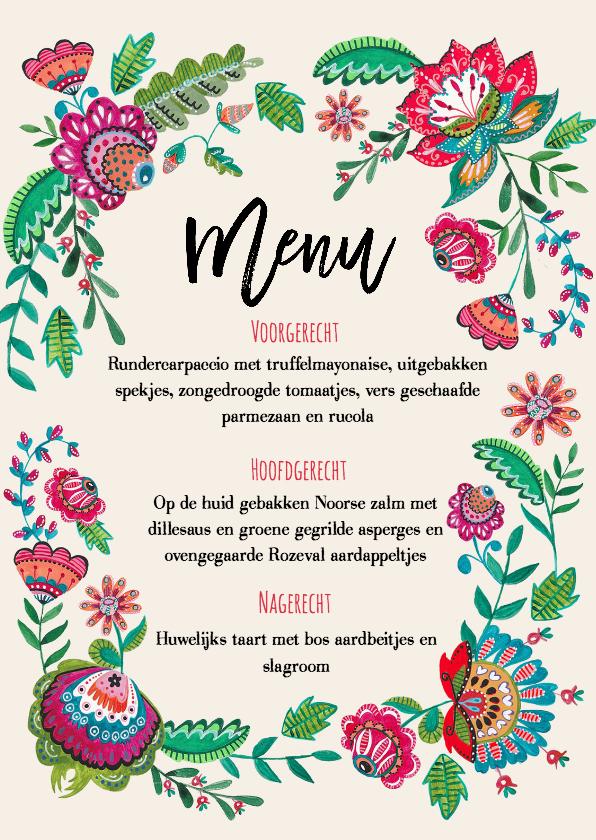 Trouwkaarten - Menukaart Bohemian Bloemen enkel
