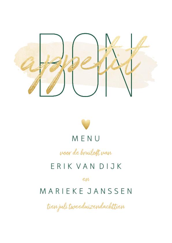 Trouwkaarten - Menukaart 'Bon appetit' met goudlook en waterverf