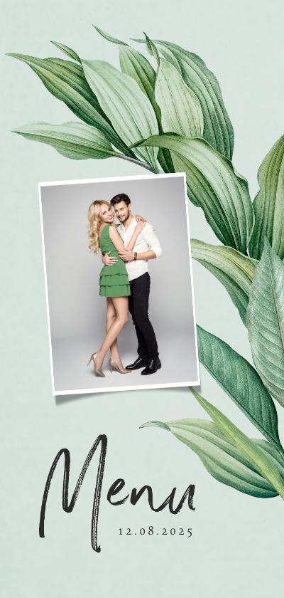 Trouwkaarten - Menukaart botanisch groen bladeren stijlvol foto