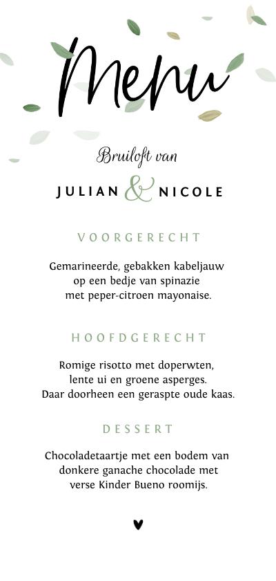 Trouwkaarten - Menukaart bruiloft ecologisch blaadjes wit groen stijlvol