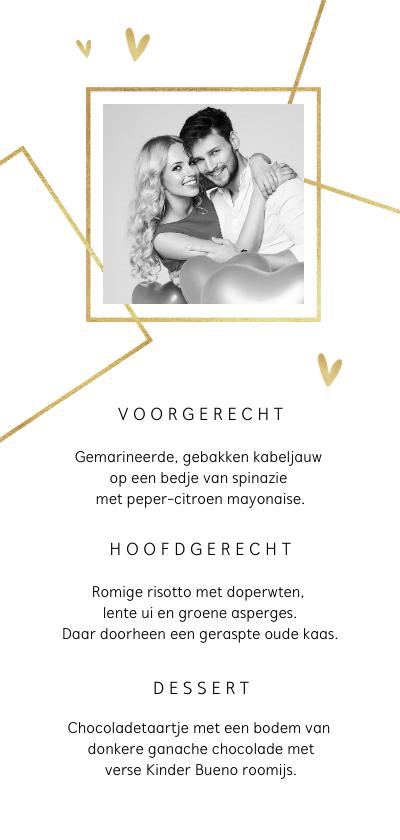 Trouwkaarten - Menukaart bruiloft foto grafisch goud hartjes