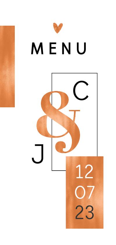 Trouwkaarten - Menukaart bruiloft grafisch koper met hartjes