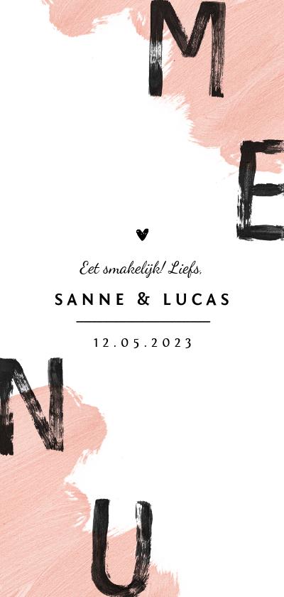 Trouwkaarten - Menukaart bruiloft hip verf roze zwart hartje