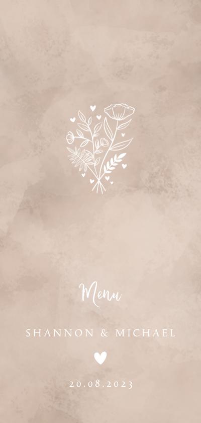 Trouwkaarten - Menukaart bruiloft neutrale waterverf hartje & bosje bloemen