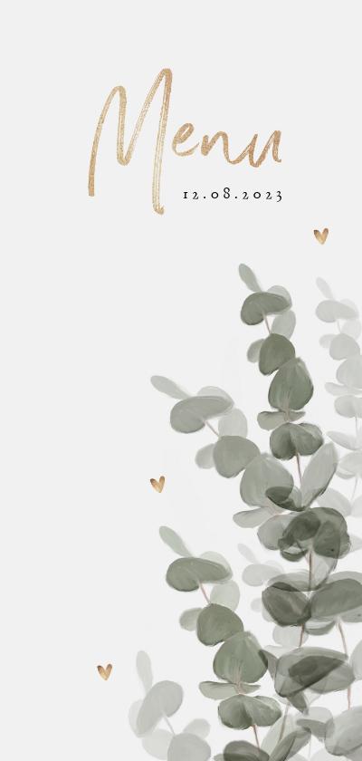 Trouwkaarten - Menukaart bruiloft stijlvol eucalyptus gouden hartjes