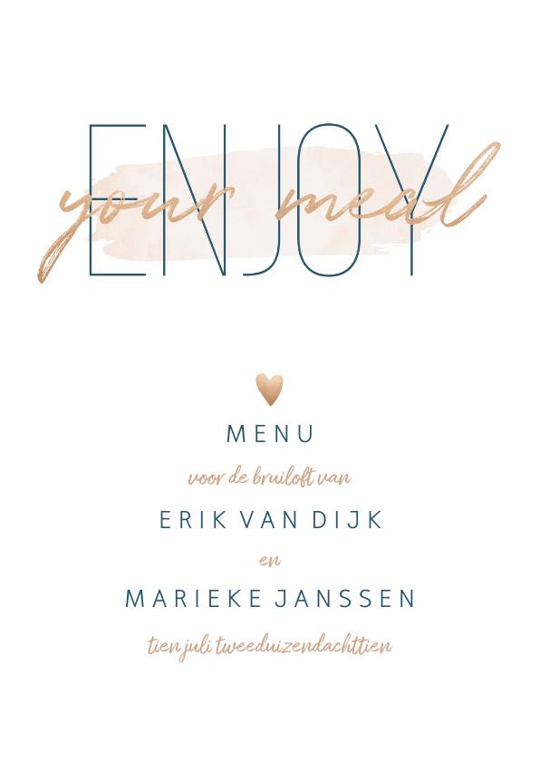 Trouwkaarten - Menukaart 'Enjoy your meal' met goudlook en waterverf