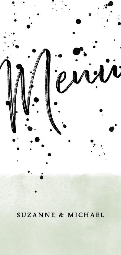 Trouwkaarten - Menukaart groene waterverf, typografie en spetters