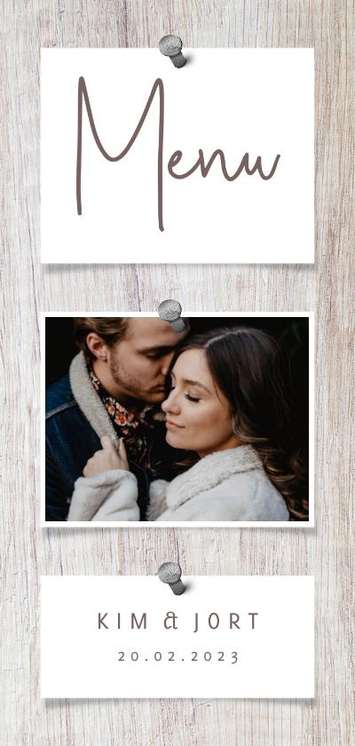 Trouwkaarten - Menukaart hout met foto's en spijkers