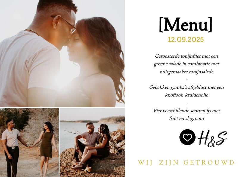 Trouwkaarten - Menukaart- huwelijksdiner met foto's