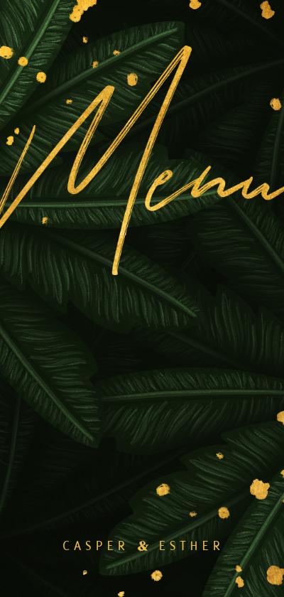 Trouwkaarten - Menukaart jungle bladeren met gouden 'menu'