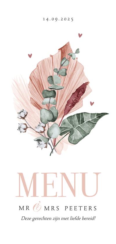 Trouwkaarten - Menukaart klassiek bloemen roze gedroogd waterverf hartjes