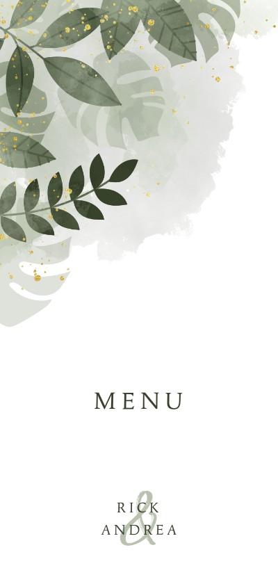 Trouwkaarten - Menukaart met botanische print, waterverf en gouden spetters