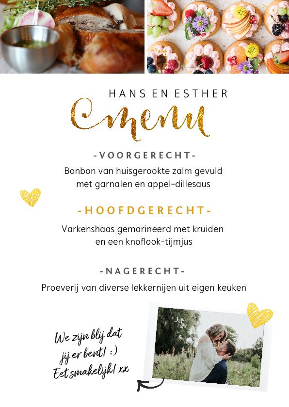 Trouwkaarten - Menukaart met foto en gouden letters staand