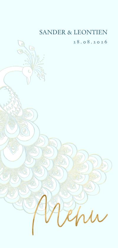 Trouwkaarten - Menukaart sierlijke pauw wit/goud op blauw