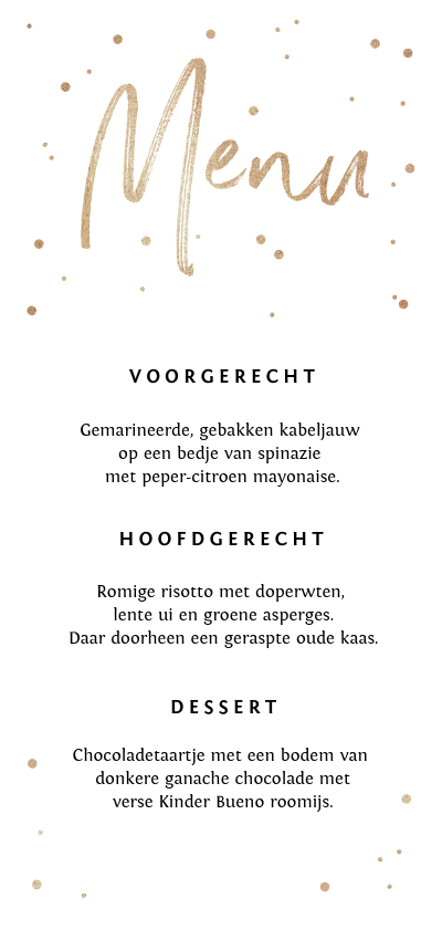 Trouwkaarten - Menukaart stijlvol goud confetti en typografie