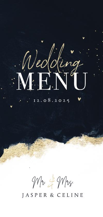 Trouwkaarten - Menukaart stijlvol verf goud hartjes inkt bruiloft