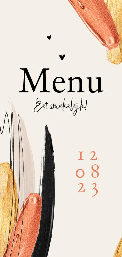 Trouwkaarten - Menukaart stijlvol verf goud typografisch trend