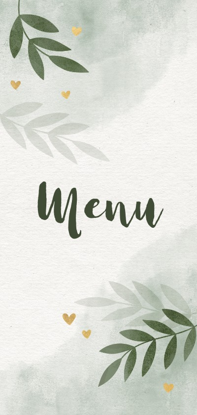 Trouwkaarten - Menukaart takjes gouden hartjes en waterverf groen