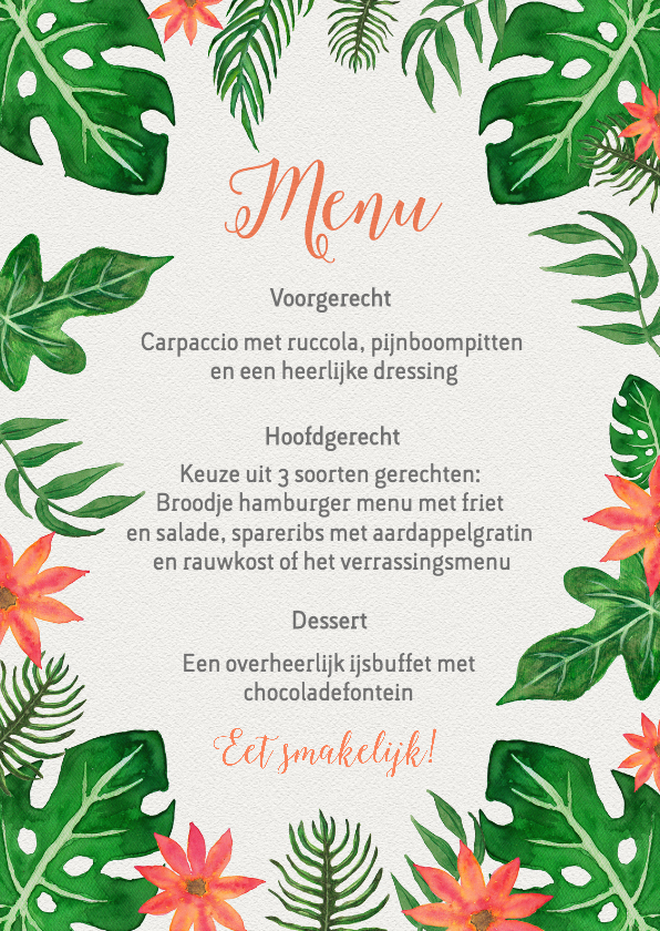 Trouwkaarten - Menukaart tropical bohemian