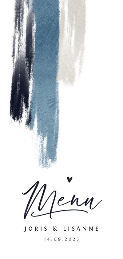Trouwkaarten - Menukaart trouwen blauw verf hartjes stijlvol