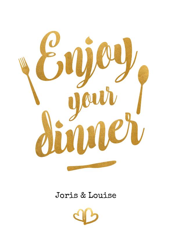 Trouwkaarten - Menukaart trouwen met gouden letters - enjoy your dinner!