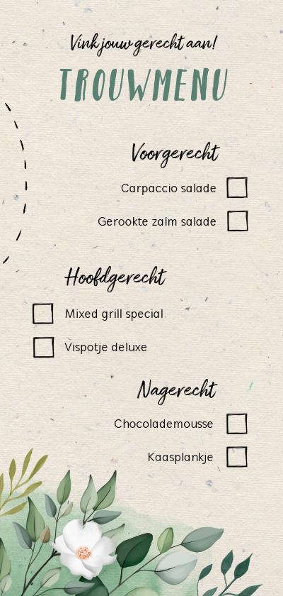 Trouwkaarten - Menukaart trouwmenu botanisch doodle vinkjes