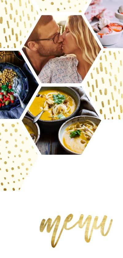Trouwkaarten - Menukaart zeshoek fotocollage met gouden confetti