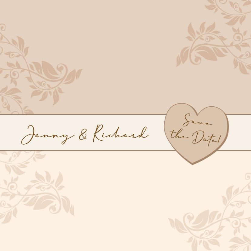 Trouwkaarten - Mooie klassieke trouwkaart met namen in band op kant