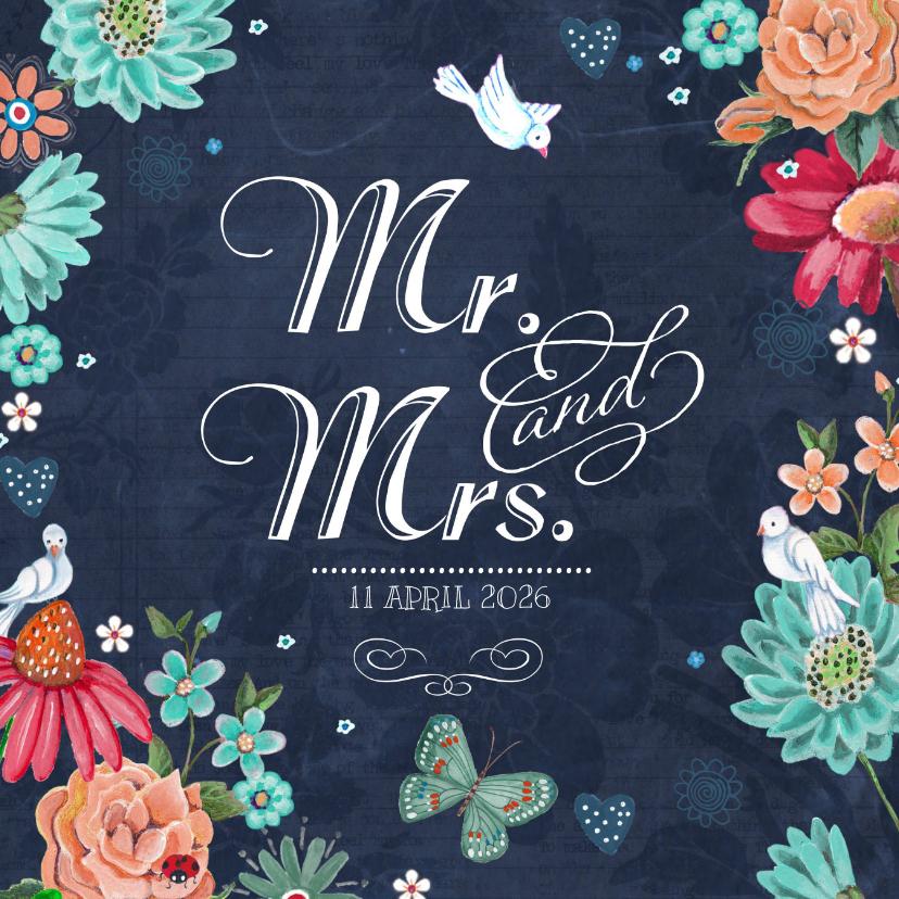 Trouwkaarten - Mr & Mrs Trouwkaart Schoolbord