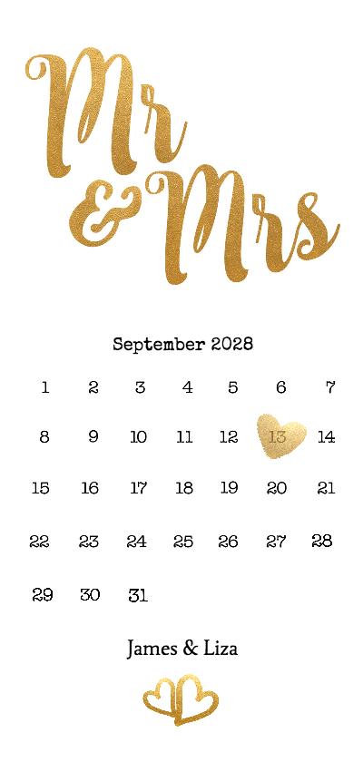 Trouwkaarten - Mrs & Mrs goud kalender langwerpig - BK