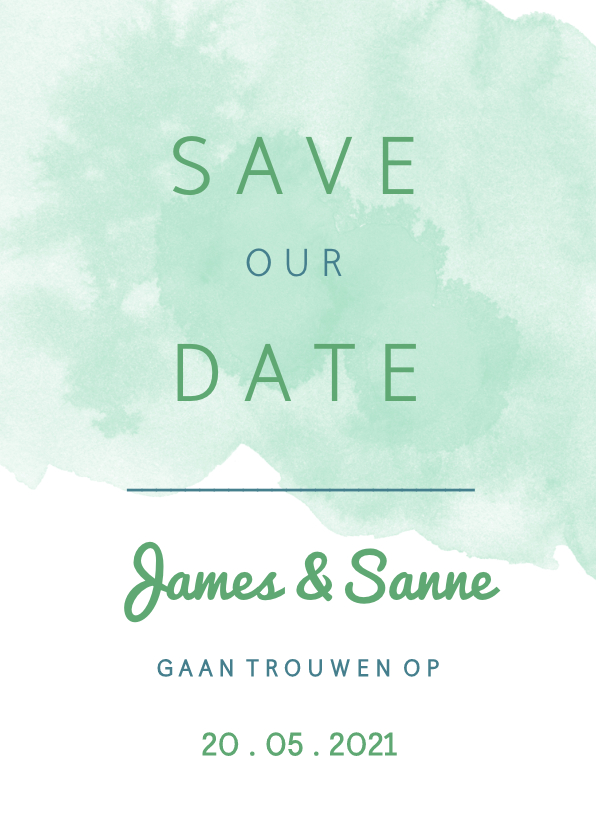 Trouwkaarten - Origineel Save the Date kaart waterverf mint