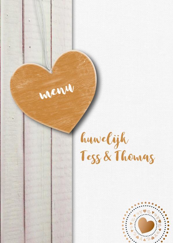 Trouwkaarten - Pastelkleur hout gouden hart