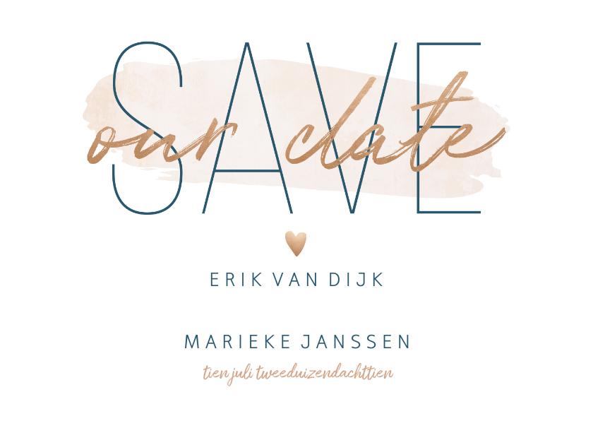 Trouwkaarten - Save our date kaart met goudlook en waterverf
