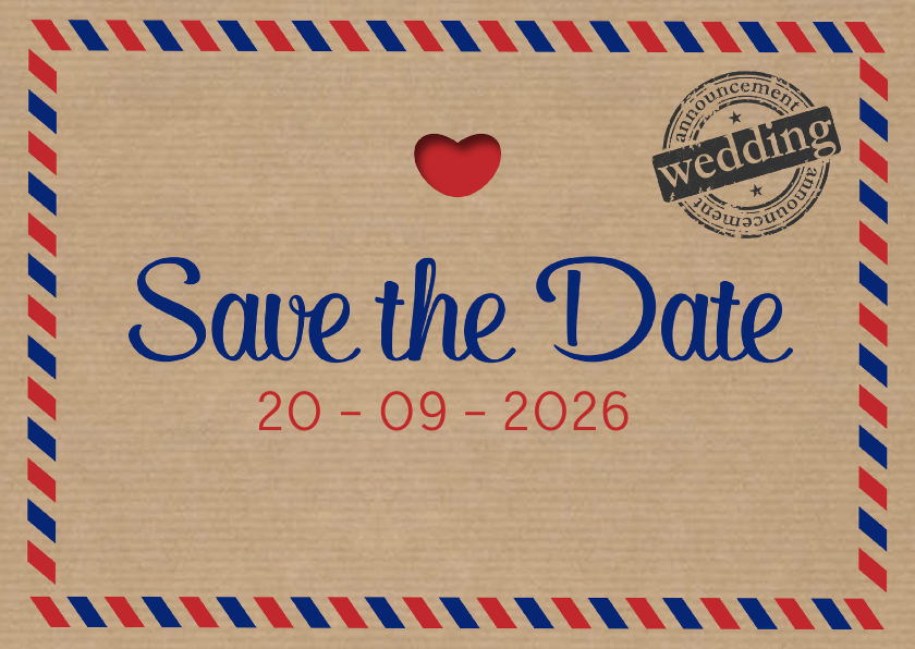 Trouwkaarten - Save the date air mail - DH